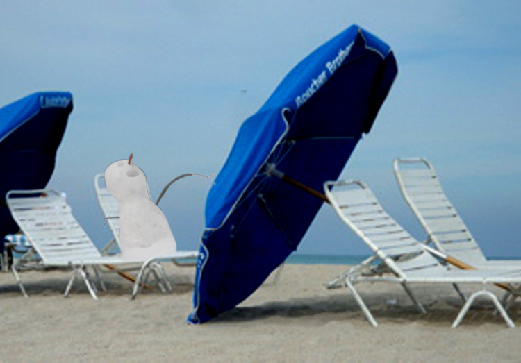 Snowman-on-beach-chair