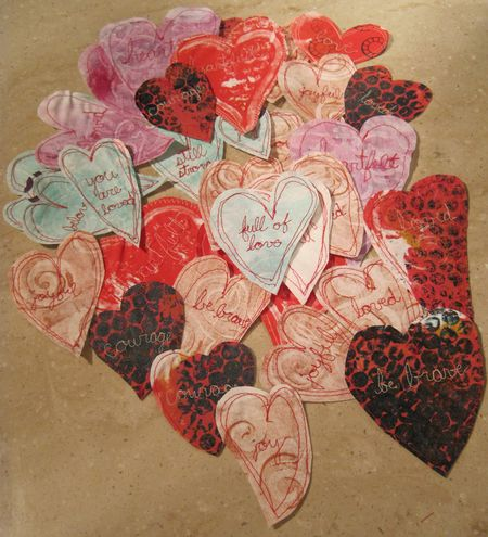Monoprint-hearts