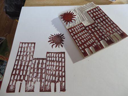 Stamp-cityscape-w-sun